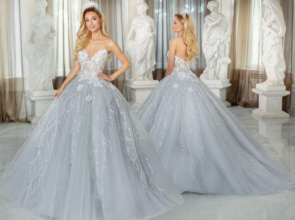 Błękitna suknia ślubna princessa Agora Celebration